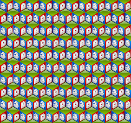 Seamless pattern made from three dimensional cubes Vector