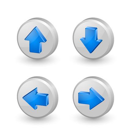 흰색 배경에 파란색 압출 세 가지 차원 화살표 아이콘