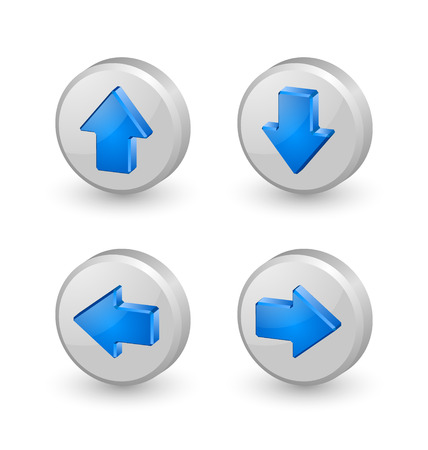 Blue extruded three dimensional arrow icons on white background Illustration