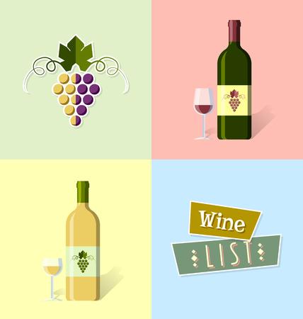 レトロなスタイルのワインリストの表紙のテンプレート  イラスト・ベクター素材