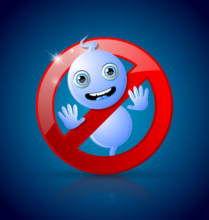 Cute Halloween ghost prohibition sign on dark blue background Vector