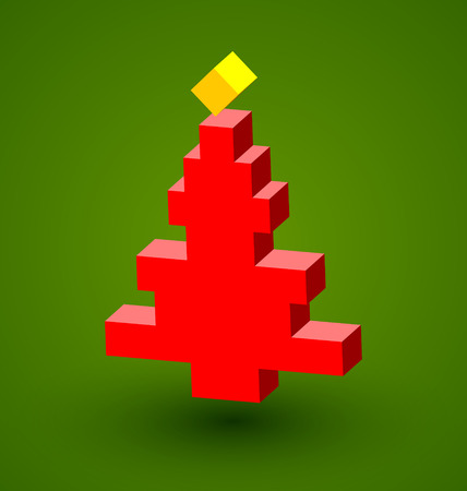 Simple three dimensional Christmas tree with cube shaped star on top Vector