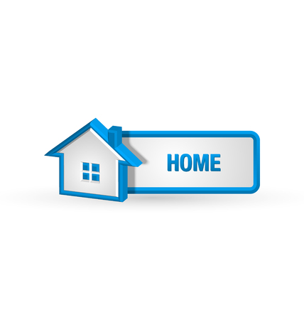 House icon and button on white background