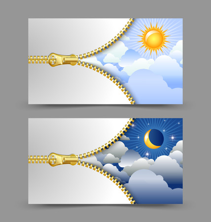 unzipped: Day and night cards or banners with golden unzipped zipper isolated on background Illustration