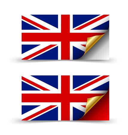 corner flag: British flag with golden curled corner on white background
