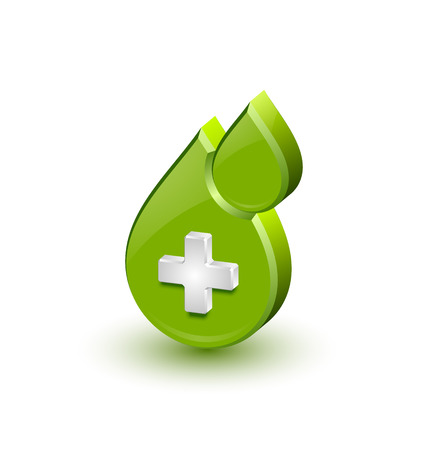 cross with care: Green blood medical icon isolated on white background