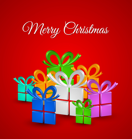 Merry Christmas card with colorful three dimensional gifts on red background Vector
