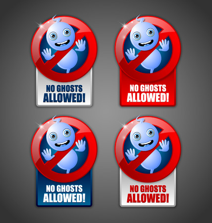 wraith: Cute Halloween ghost prohibition signs on dark grey background
