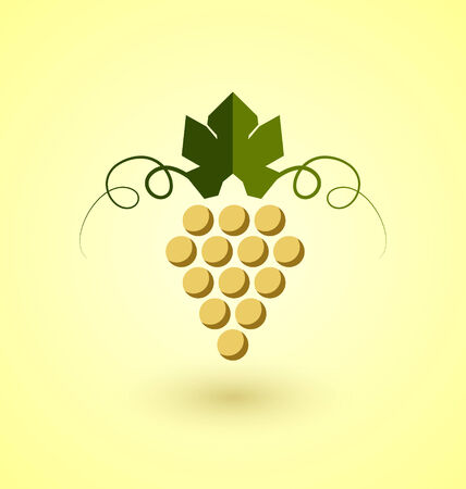 clump: Yellow grape bunch in simple retro style