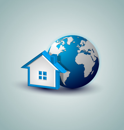 Earth and house icon placed on background Vector