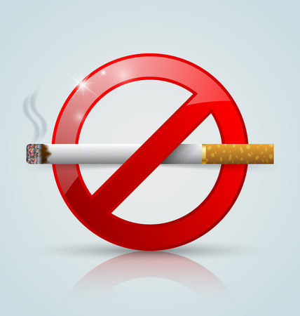 No smoking prohibition sign with reflection on pale background Vector