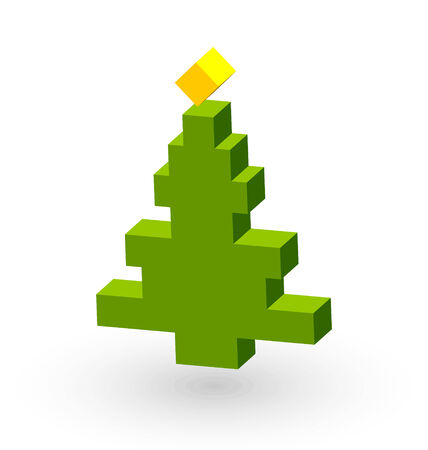 plain postcards: Simple three dimensional Christmas tree with cube shaped star on top Illustration
