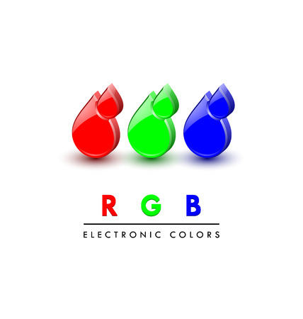 basic shapes: Three dimensional primary RGB digital color icons on white background