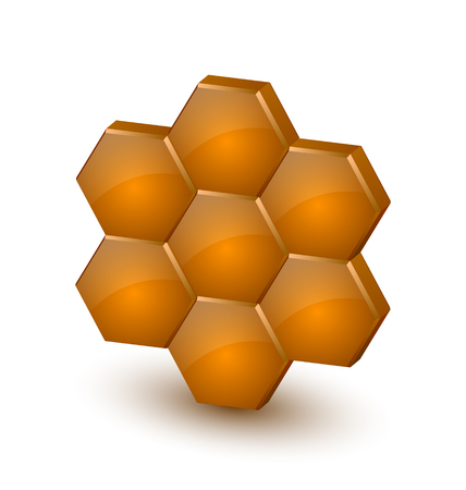 Honey comb: Glossy three dimensional honeycomb icon on white background