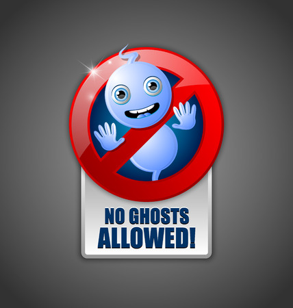 wraith: Cute Halloween ghost prohibition sign on dark grey background Illustration