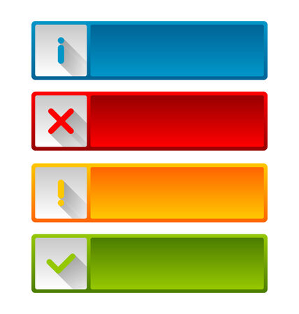 Notification icons and buttons with long shadow for web design and computer purposes Vector