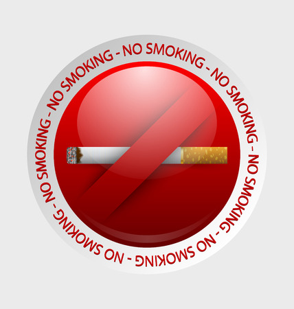 abstain: No smoking prohibition sign placed on pale background Illustration