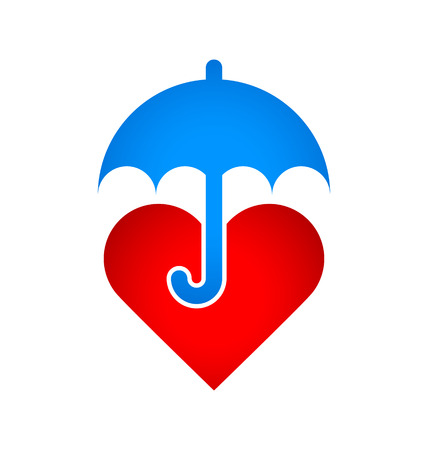 mercy: Caring umbrella protects red heart against of all bad things of this world