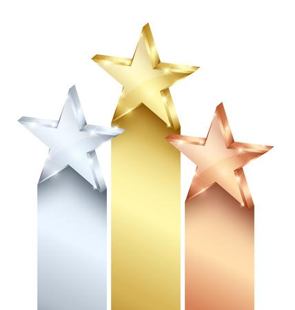 Zlaté, stříbrné a bronzové hvězdy na bílém pozadí