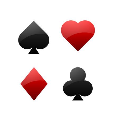 jeu de carte: Symboles de cartes Costume de jeu sur fond blanc Illustration