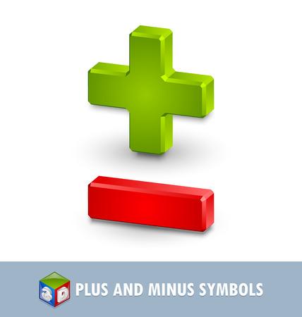Three dimensional plus and minus symbols on white background