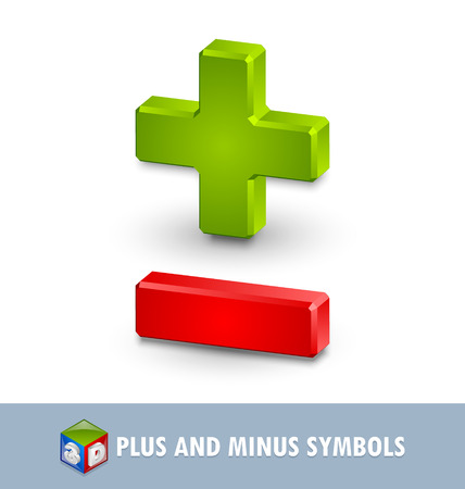 Three dimensional plus and minus symbols on white background