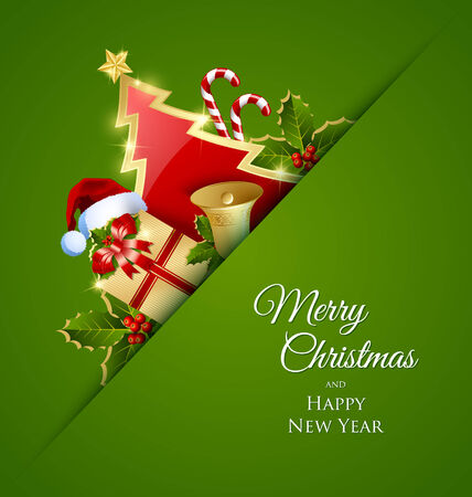Merry Christmas card with traditional decorations placed on green background Vector