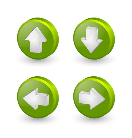 Green extruded three dimensional arrow icons on white background Vector