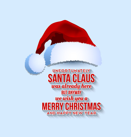 Santa Claus hat with text on pale blue background Vector