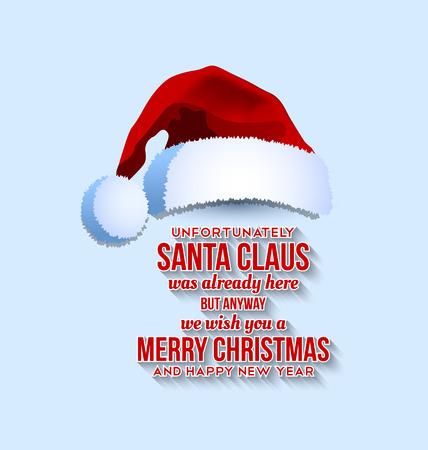 Chapeau de Père Noël avec le texte sur fond bleu pâle