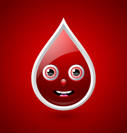 blood transfusion: Blood character icon isolated on red background