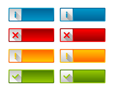 website buttons: Notification icons and buttons with long shadow for web design and computer purposes Illustration