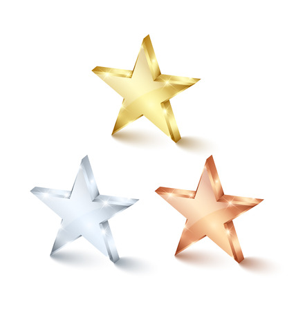 famous star: Golden, silver and bronze stars on white background