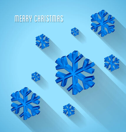 postcard background: Merry Christmas snowflake postcard template on blue background
