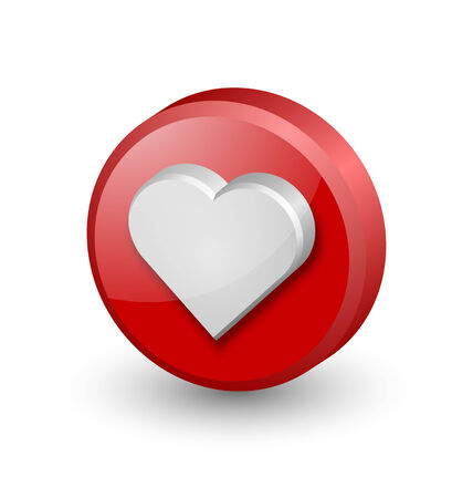 3d dimensional: Three dimensional heart icon on white background Illustration