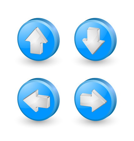 directional arrow: Blue extruded three dimensional arrow icons on white background Illustration