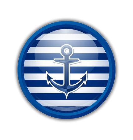 ancre marine: Icône d'ancrage nautique ou un badge sur fond blanc