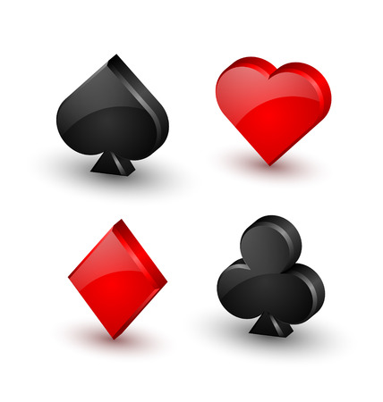 Suit playing card symbols on white background