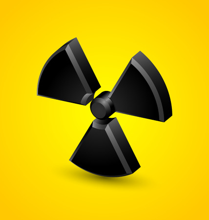 Nuclear symbol isolated on yellow background Illustration