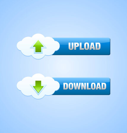 Upload and download cloud buttons useful for webdesign purposes Vector