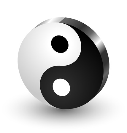 good karma: Yin Yang symbol icon isolated on white background Illustration
