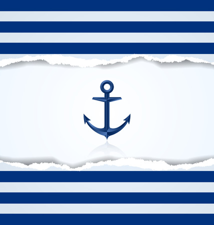 Nautical background with anchor and blue and white stripes  イラスト・ベクター素材