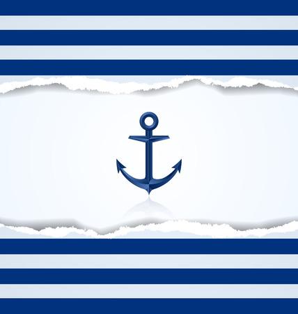 Nautical background with anchor and blue and white stripes Ilustração