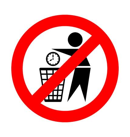 Verspil uw tijd pictogram op witte achtergrond geen afval