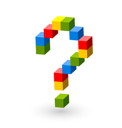 Question mark symbol made from colorful cubes on white background