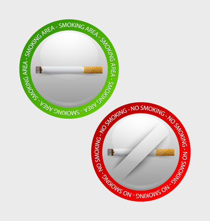 no symbol: Smoking and no smoking prohibition signs placed on pale background
