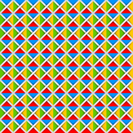 Seamless pattern made from colorful squares and white crosses