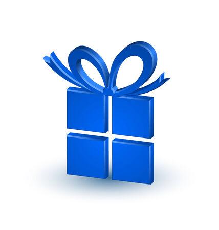 cadeau anniversaire: Trois dimensions cadeau de No�l ou d'anniversaire sur fond blanc