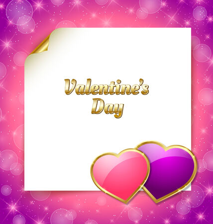 Valentines day document template with two glossy hearts on pink background Vector