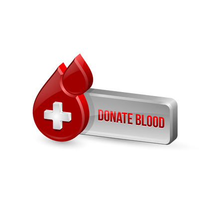 transfuse: Red blood medical icon with button isolated on white background